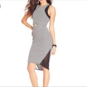 Material Girl Striped Bodycon Dress With Keyhole